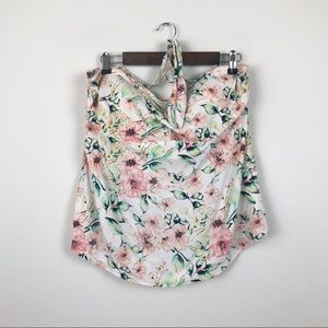 AVA VIV Floral Swim Halter Top Plus Size 16W